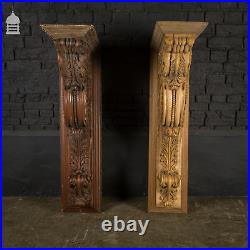 18th C Pair of Large Ornately Carved Wooden Brackets