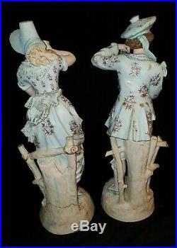 19th Century French Bisque Porcelain Figurines LARGE Pair 20 Tall