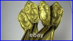 2 PAIR Large Gold Gilt Brass Bronze French Antique Curtain Rod Tie Backs Hooks