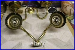 2 Pairs Of vintage Art Deco Brass Marble Glass Globe wall lights Ex Con Large