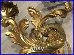3 Rare Vintage French Brass Bronze Empiry Style Wall Lamps Sconce Red scabbard