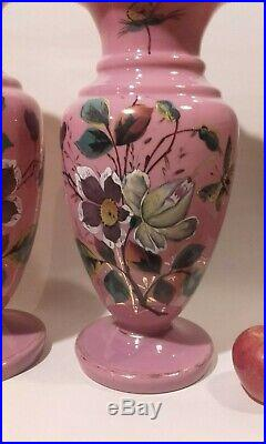 A Large Pair of Antique Victorian Pink Opaline Glass Vases with Flowers 33 cm