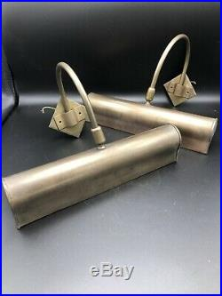 A Pair Of Handmade Jim Lawrence Antiqued Cast Brass Large Picture Wall Lights