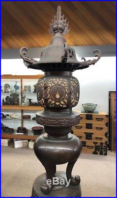 A Pair Of Large Japanese Antiques Temple Bronze Lantern With Wood Stand
