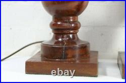 A Pair Of Wooden Table Lamps Large Vintage Wooden Table Lamps Baluster Shape
