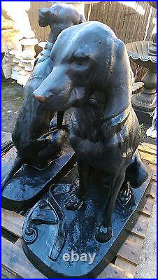 A Pair of Cast Iron Hunting Dogs Cast Large Hunt Hounds