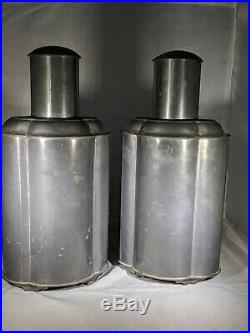 A Pair of Extra Large Chinese Antique 1940's Pewter Tea Caddy, Height 10.5