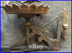 ANTIQUE CAST IRON VICTORIAN OIL LAMP PAIR DOUBLE WALL BRACKET Eastlake LARGE
