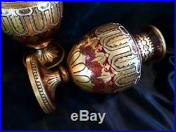 ANTIQUE MOSER PAIR LARGE RED GLASS VASES GOLD & ENAMEL BEADS 12in HEIGH FABULOUS