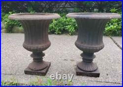 Amazing Large Pair of Antique Cast Iron Garden Urns- Great Quality and Details