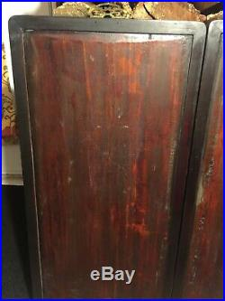 Antique Chinese Great Wall Wood Carved Raised Gilt Large Panels Mirroring Pair