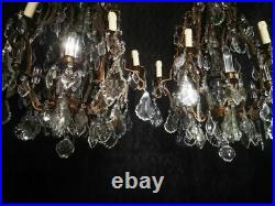 Antique French Chandelier Crystal 19th Century Pair Victorian Chandelier Large