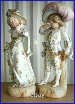 Antique French Large Bisque Porcelain Figurine Couple, 17 high