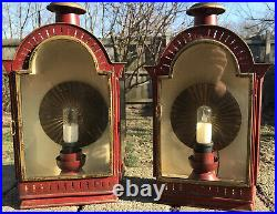 Antique Light Fixture Carriage Lantern BRASS Sconce Outside Porch Wall Mount VTG