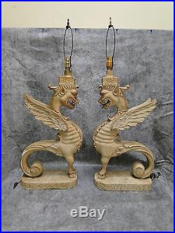 Antique Pair Large Winged Griffins Standing Gargoyle Lamps