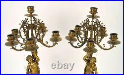 Antique Pair Of Beautiful Large 6 Branch Candelabras With Marble Base