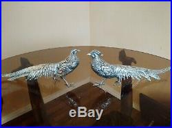 Antique Pair Of X-large Italian 800 Silver Pheasants Decanter Removable Heads