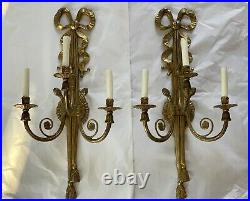Antique Pair Palatial French Empire Brass Bronze Wall Sconce Sconces 27 Bow
