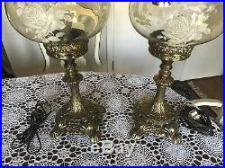 Antique Pair of Brass Lamps with Hurricane Painted Shades, Rare, Large