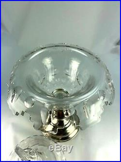 Antique Pair of Dutch Silver and Glass Large Covered Candy Dishes