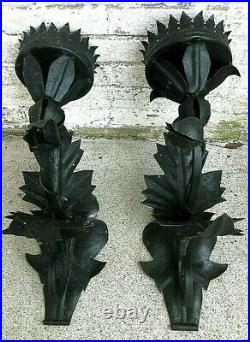 Antique Pair of Early 20th Century Iron Wall Sconces
