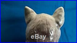 Antique Scottish Bo`ness Pottery Pair Of Large Cats With Ribbon Shape Collars