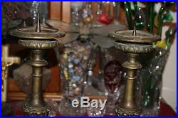 Antique Victorian Cast Bronze Candle Holders-LARGE-Pair-Footed Designs