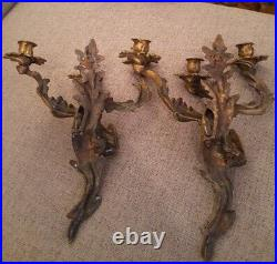 Antique Wall Sconce Pair Candle Holder Candelabra Gilt Bronze French Louis Style