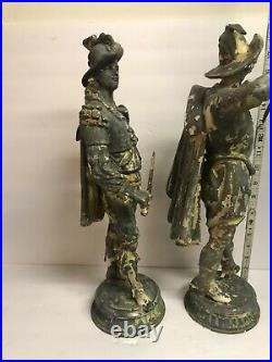 Antique pair of large Spelter metal statues Ansonia 19 Tall