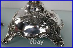 Art Nouveau silver plated large pair of floral candle holders by WMF