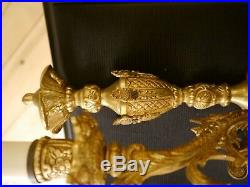 Baroque rococo french old 3 lights pair gold bronze fine wall lamps sconces