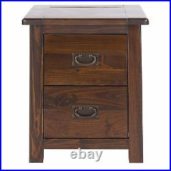 Bedside Cabinets Pair Large Tables Solid Wood 2 Drawers Dark Wood Bedroom Baltia