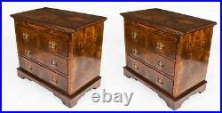 Bespoke large Pair of Burr Walnut Bedside Chests Cabinets With Slides