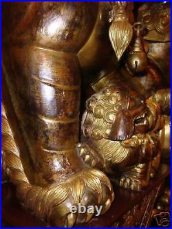 CHINESE FOO FU DOGS ANTIQUES PAIR LARGE over 4feet tall