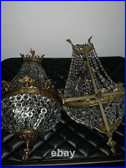 Chandeliers Antique Crystals Made In Spain. Pair Of Beautiful Wall Chandeliers