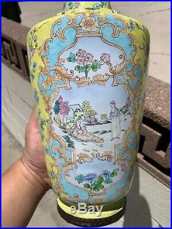 Chinese Large Antique Cloisonne Enamel Vase Pair With Flowers