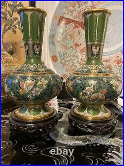 Chinese Large Cloisonné Vases Pair 10.25 Tall
