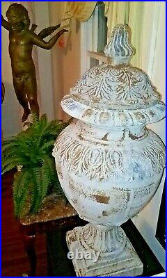 Classical Lidded Urns Pair of Two Large 33x14 Terracotta Jardinieres
