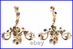 Early 20th C Italian Antique Pair Hand Painted Tin Tole Floral Wall Candelabras