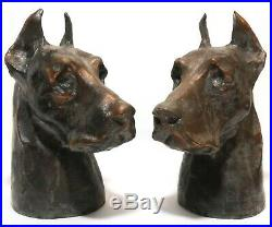 Early 20th C Vint Pair 7 Large Great Dane Bust Copper Plated Pot Metal Bookends