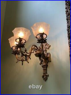 Elaborate Large Brass Gas Electric Gothic Wall Sconce Pair