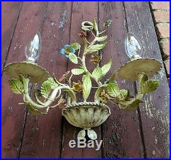 Gorgeous Large Pair Vintage French Tole Ware Wall Lights Flowers Leaves
