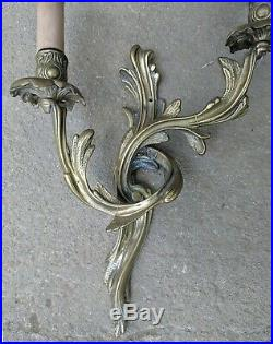 Gorgeous Pair Genuine French SOLID Bronze Rococo Twin Arm Wall Lights
