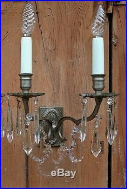 Gorgeous Pair Vintage French Silver Chrome Art Deco Wall Lights with Crystals