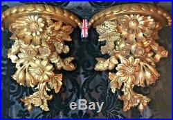 Gorgeous large pair of antique French carved gilt wood wall shelves brackets 13
