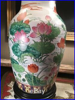 Great Pair Of Large Vintage Oriental Chinese Porcelain Lamps, Birds, flowers