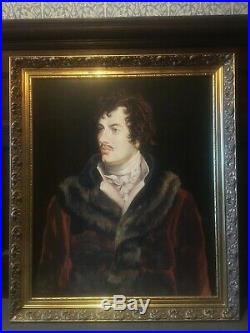 Huge Pair of Oil Paintings. Lord Byron and his lover Lady Caroline lamb. Large