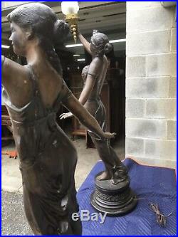 Incredible Pair Of Large Bronze Figural Lady Newel Post Lamps, 60 Tall