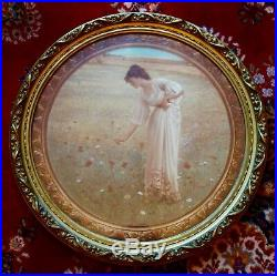 LARGE PAIR OF LIBERTIES OF LONDON ROUND FRAMED PRINTS-ART NOUVEAU 23.5ins diam
