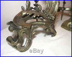 LARGE pair 1800's antique Rococo gilt bronze brass fireplace andirons chenets